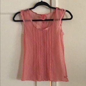 Roxy mesh pink polka dot shirt